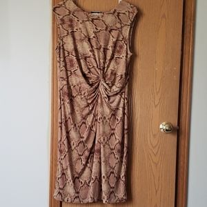 Brown snakeskin print dress